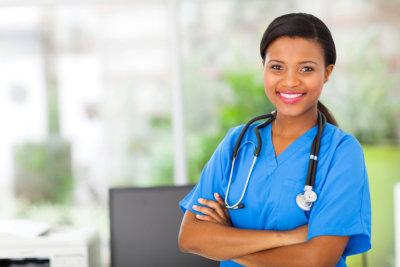 beautiful african american female pediatric nurse in modern office